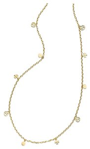 Tory Burch Plated Logo Charm Rosary Necklace