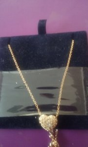 Swarovski New Heart Necklace. Missing Earrings. Gold