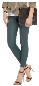 Current/Elliott Pencil Leather Pockets Gray Skinny Pants Spruce, Blue, Green