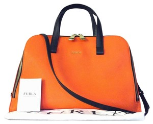 Furla Leather Pebbled Crisscross Strap Structured Satchel in Orange