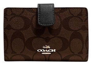Coach Medium Corner Zip Wallet in Signature Brown Black F54023