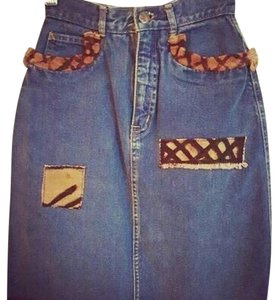 Asante Mini Skirt Denim, Africa Fabric