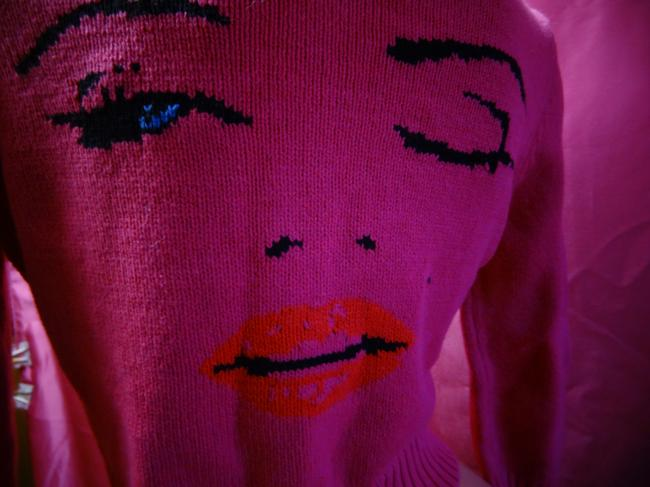 Betsey Johnson Marilyn Monroe Lip Kiss 50's Cardigan Image 8