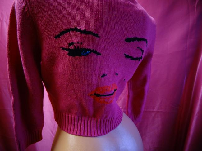 Betsey Johnson Marilyn Monroe Lip Kiss 50's Cardigan Image 9
