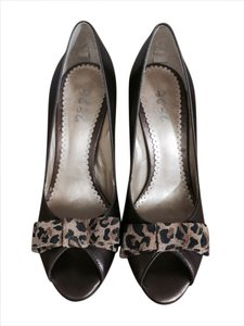 BCBG Peep Toe Leather Bronze Pumps