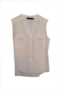 The Limited Off White Cream Gold Buttons Sleeveless Top Cream/Off-White