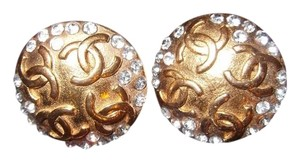 Chanel Chanel Multi-CC Multi-Crystal Round Clip-On Earrings Vintage
