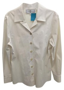 St. John Gold Button Down Shirt Cream