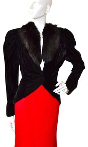 Karen Okada Vintage David Howard Fox Fur Black Blazer