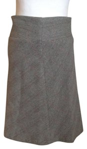United Colors of Benetton Wool A-line Midi Skirt Black Gray Textured Tweed