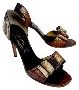 Valentino Brown Reptile Leather Bow Heels Sandals