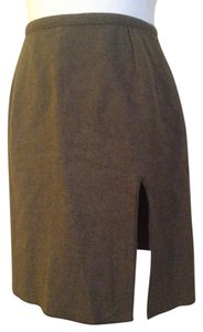 Miu Miu Made In Italy Wool Boiled Wool Wool Mini Mini Skirt olive green / loden