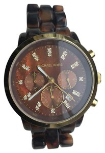 Michael Kors Michael Kors Women's Watch in Tortoise with Gold & Diamond Dial