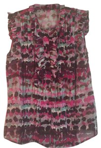 Escada Violet Print Silk Sleeveless Top Purple