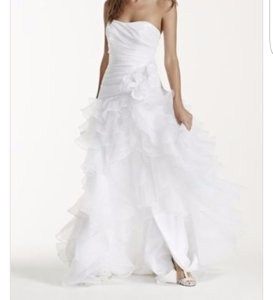 Strapless Taffeta High Low Ruffled Wedding Dress Wedding Dress