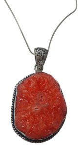 New Agate Druzy Pendant Necklace Sterling Silver Filled J2790