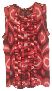 Tory Burch Print Silk Sleeveless Top Orange