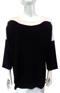 Chico's Slip On 3/4 Sleeve Border Top Black