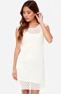Lulu*s short dress Cream Black Swan White Crochet on Tradesy