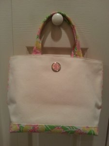 Lilly Pulitzer Small Tote Canvas Pink Green Yellow Satchel in Beige
