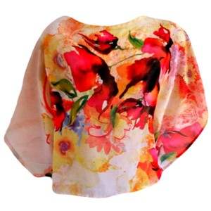 Body Central Floral Sheer Watercolor Shawl Top pink