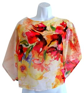 Body Central Floral Sheer Watercolor Shawl Top Multicolor