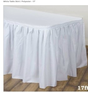 "Tablecloths Factory White Polyester 17"" Table Skirt Reception Decoration"