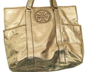 Tory Burch Leather Tote in Gold