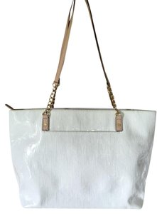 Michael Kors Patent Leather Gold Textured Tote in White