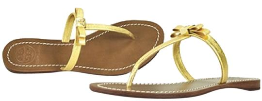 Preload https://img-static.tradesy.com/item/17942248/tory-burch-gold-leighanne-bow-textured-sandals-size-us-9-0-1-540-540.jpg