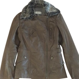 Danier Gray/Brown Leather Jacket