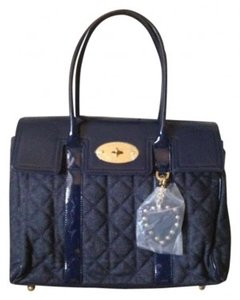 Mulberry for Target Denim Patent Leather Satchel Tote in Blue