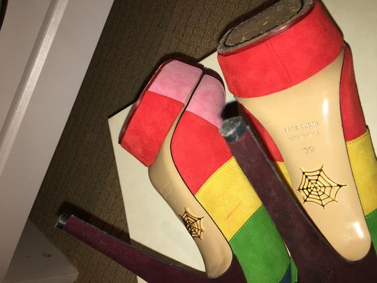 Charlotte Olympia Rainbow Multi Colored Suede Platforms Image 1