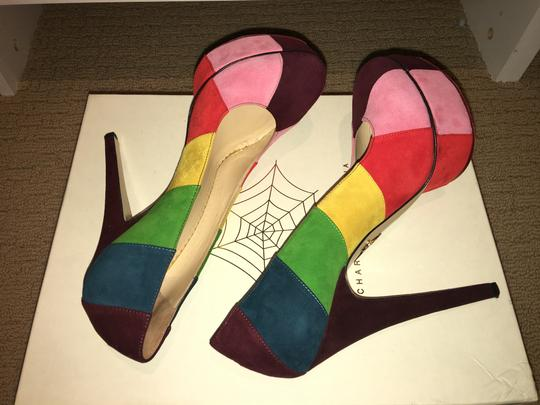 Charlotte Olympia Rainbow Multi Colored Suede Platforms Image 4
