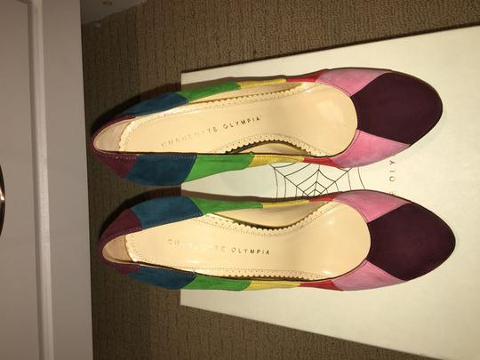 Charlotte Olympia Rainbow Multi Colored Suede Platforms Image 6