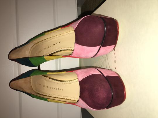 Charlotte Olympia Rainbow Multi Colored Suede Platforms Image 7