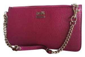 Coach Nolita 15 Smooth Leather Zip Chain 64791 Wristlet in Fuschia