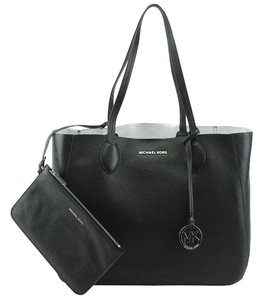 Michael Kors Mae Reversible Leather Tote in Black / Silver