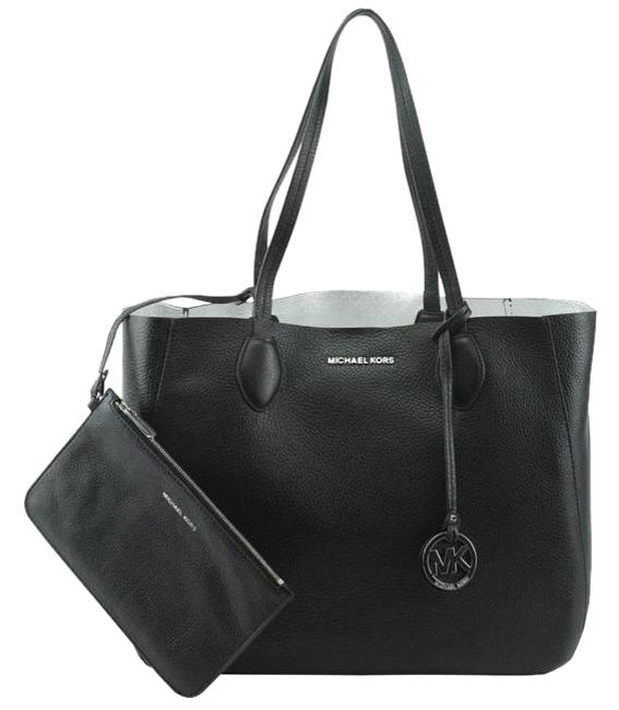 Item - Carryall Mae Large Reversible with Removable Pouch Black / Silver Leather Tote