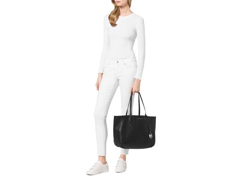 1d175faf7fef Michael Kors Mae Large Reversible Carryall with Removable Pouch Black /  Silver Leather Tote - Tradesy