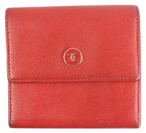 Chanel Red Caviar Button Wallet 87CCA723