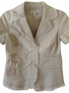 American Rag Embroidered Trim Lighweight khaki Womens Jean Jacket