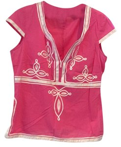 Trina Turk Peasant Embroidered Top pink