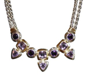 David Yurman NEW DAVID YURMAN 10 STONE AMETHYST SS AND 18K GOLD NECKLACE