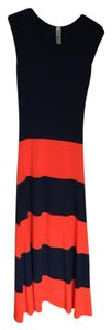 Navy/Orange Maxi Dress by Go Couture