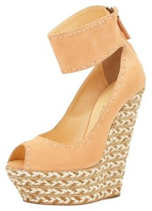 Giuseppe Zanotti Braided Strap Ankle Peep Toe Salmon Wedges