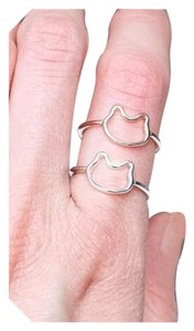 New Silver Minimalist Kitty Cat Ring SZ 7