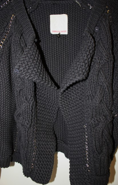 Rebecca Taylor Chainey Blue Metal Trim Size Medium Chain Accent Sweater Cardigan