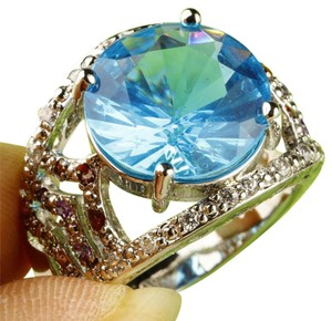 Blue Topaz large stone fashion ring