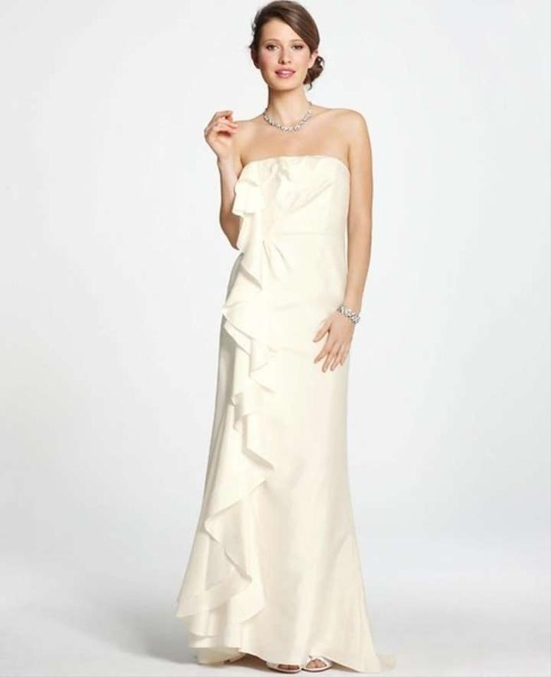 Ann taylor silk dupioni ruffle strapless wedding dress for Wedding dresses ann taylor